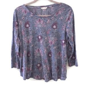 LUCKY BRAND Purple paisley quarter sleeve shirt